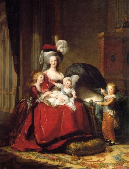 Maria Antonieta e seus filhos, por Élisabeth Vigée Le Brun (1787).