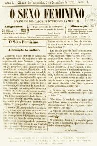 """Frontispício da primeira edição de """"O Sexo Feminino"""" (1875)."""