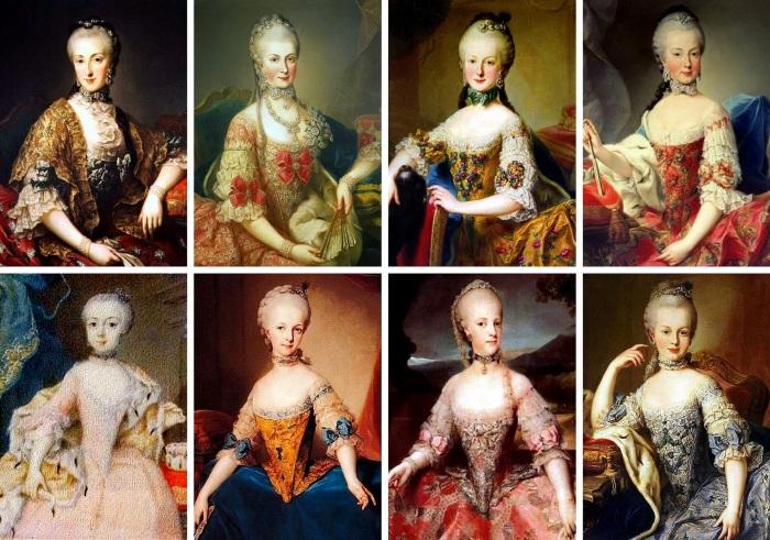 As oito filhas da Imperatriz Maria Teresa da Áustria, que sobreviveram à infância. Da esquerda para a direita, de cima para baixo: Maria Ana, Maria Cristina, Maria Elisabete, Maria Amália, Maria Joana, Maria Josefa, Maria Carolina e Maria Antonieta.