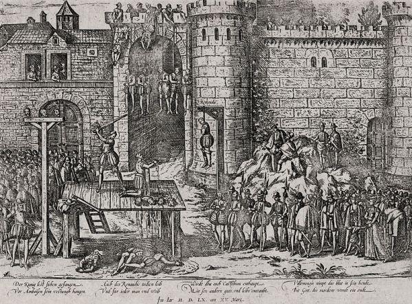 Ilustração da execução dos conspiradores em Amboise, por Frans Hogenberg (século XVI).
