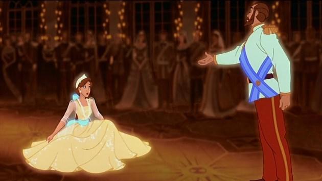 """Uma das cenas mais belas do filme, com Anastásia dançando com o fantasma de seu pai ao som de """"Once upon a december""""."""