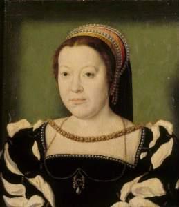 Catarina de Médicis como Delfina da França, por Corneille de Lyon (c, 1536).