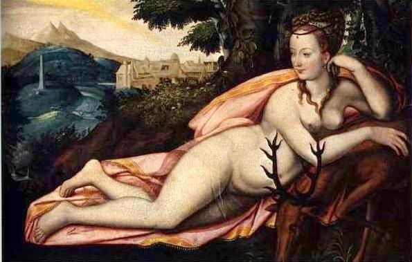 Nu artístico de Diana de Poitiers, como a deusa da caça Diana (escola de Fontainebleau).