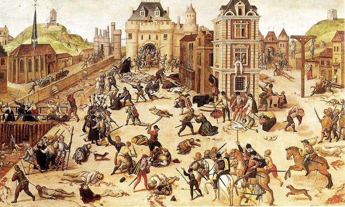 O Massacre de São Bartolomeu, por François Dubois. No canto superior esquerdo da imagem, é possível ver catarina de Médicis, trajada de preto, contemplando a carnificina.