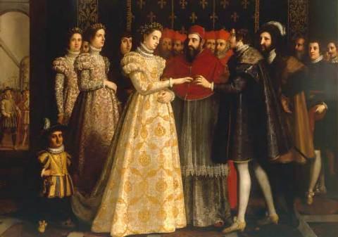 O papa Clemente VII celebra o casamento de Catarina de Médicis com Henrique, duque de Orleans, na presença do rei Francisco I.