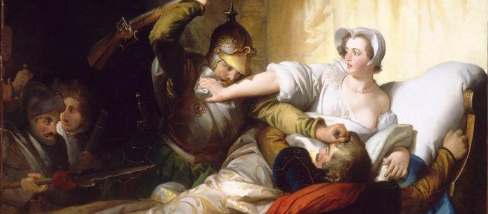 Tela de Alexandre-Évariste Fragonard, retratando o quarto de Margarida de Valois, durante o massacre de São Bartolomeu (1836).