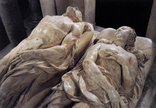 Túmulos de Catarina de Médicis e Henrique II na Basílica de Saint-Denis.