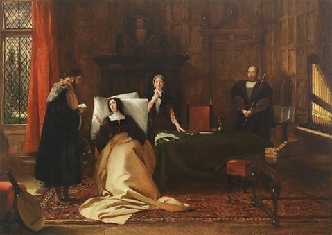 O embaixador imperial, Eustace Chapuys, visita Catarina de Aragão em seu leito de doente.