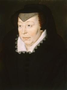 Retrato da rainha-mãe Catarina de Médicis, executado a partir da obra de François Clouet.