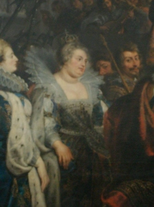 Margarida de Valois em seus últimos anos de vida. Detalhe da tela de Peter Paul Rubens (c. 1622-1625).