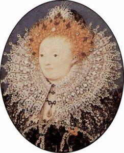Retrato em miniatura de Elizabeth I, por Nicholas Hilliard (1577).