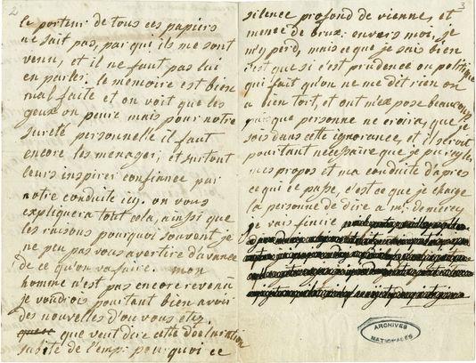 Carta de Maria Antonieta ao conde Fersen. Graças à tecnologia moderna, foi possível ler o que estava escrito sob os borrões feitos pelo conde Fersen.
