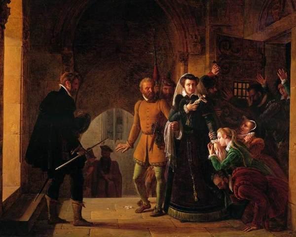 Mary Stuart é conduzida ao patíbulo, por Pierre-Henri Révoil.