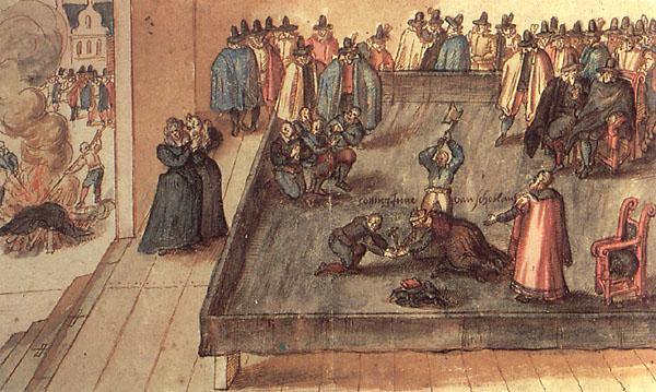 Aquarela holandesa contemporânea, retratando a execução de Mary Stuart, em 8 de fevereiro de 1587.