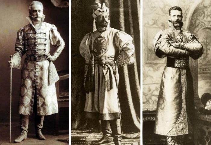 Da esquerda para a direita: príncipe Konstantin Gorchakov, Nicolau II e o grão-duque Sergei Alexandrovich