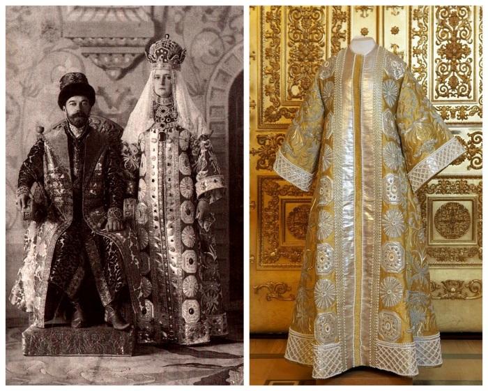 Nicolau e Alexnadra, como czar Alexei Mikhailovich e czarina Maria Ilinichna. Ao lado, o vestido usado por Alix.