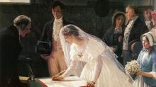 Com o declínio do dote, as famílias passaram a estimular encontros entre os possíveis noivos para estimular o florescimento de sentimentos entre eles (Tela de George Henry Boughton, 1878).