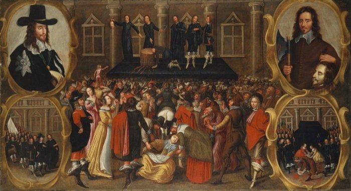 A partir da década de 1570 um grupo de religiosos, os chamados puritanos, cresceu cada vez mais e passou a controlar determinados seguimentos da vida social, instituindo regras de conduta moral para regularizar modos religiosamente inaceitáveis do seu ponto de vista. Execução do rei Carlos I na chamada Revolução Puritana.