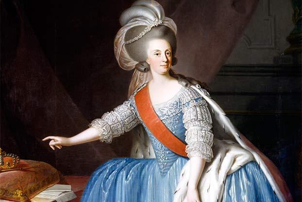 D. Maria I foi a primeira rainha reinante de Portugal e também a primeira monarca europeia a pôr os pés no continente americano, desde o século XVI. Retrato baseado em obra de Giuseppe Troni (1783).