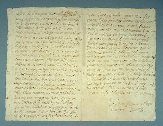 Última carta de Mary Stuart, escrita horas antes de sua morte, endereçada ao rei Henrique III da França.