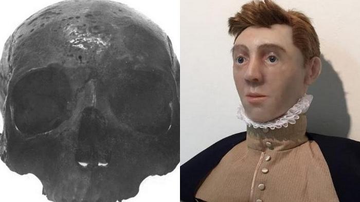 Esquerda: crânio de Lord Darnler, que costumava ficar exposto no Royal College of Surgeons, antes de ser destruído. Diretira: reconstrução facial do rei.
