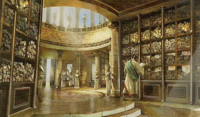 A Grande Biblioteca de Alexandria.