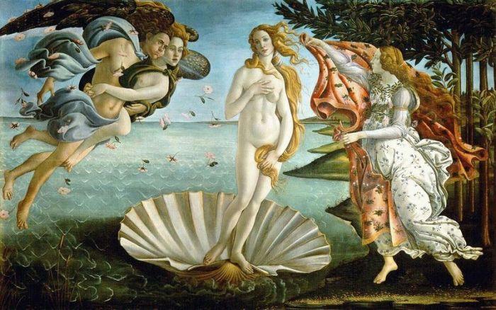"""""""O Nascimento de Vênus"""", por Sandro Botticelli, 1485. Museu Uffizi, Florença."""