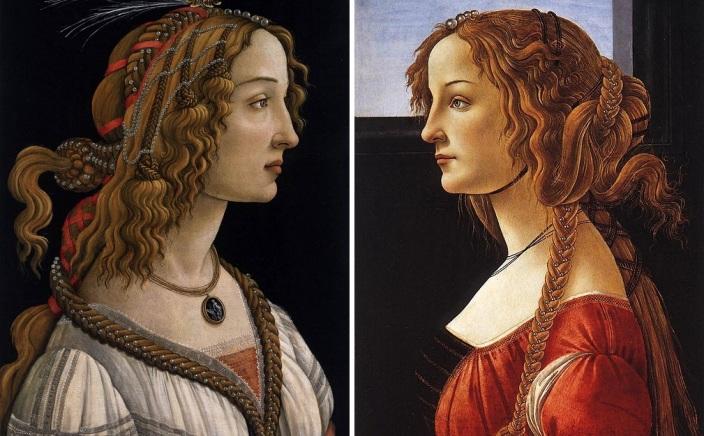 Retratos de duas jovens desconhecidas, pintados por Botticelli na década de 1480. É possível que as telas representem a mesma pessoa: Simonetta Vespucci.