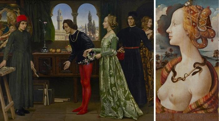 Esquerda: Juliano de Médici leva Simonetta Vespucci ao estúdio de Botticelli (Eleanor Fortescue-Brickdale, 1922). Direita: