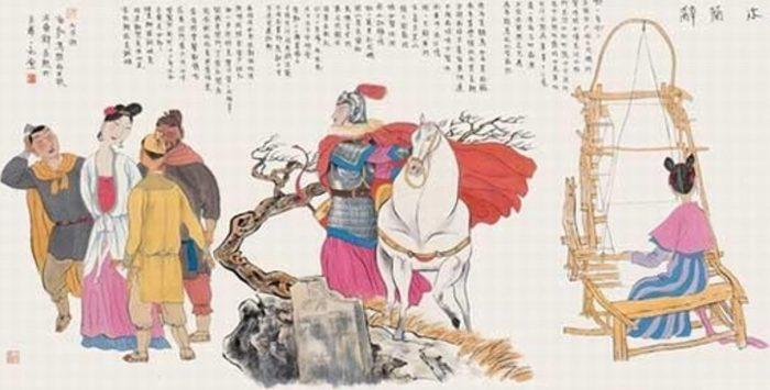 """Ilustração em fases da """"Balada de Mulan"""". Da direita para a esquerda: """"Mulan trabalhando no tear; Mulan vai à guerra vestida de homem; Mulan usando roupas femininas diante dos soldados""""."""