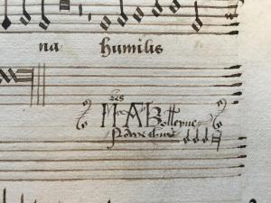 """""""Mistres A Bolleyne Nowe Thus"""", inscrição no livro de músicas de Ana Bolena."""