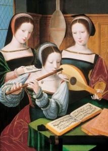 Damas tocando a flauta e o alaúde. A educação musical fazia parte do ensino delas.