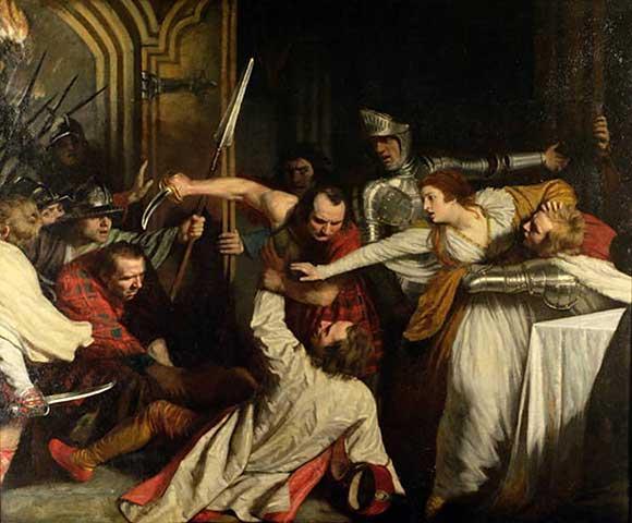 David Rizzio é assassinado aos pés de sua senhora. Tela de John Opie, 1787.