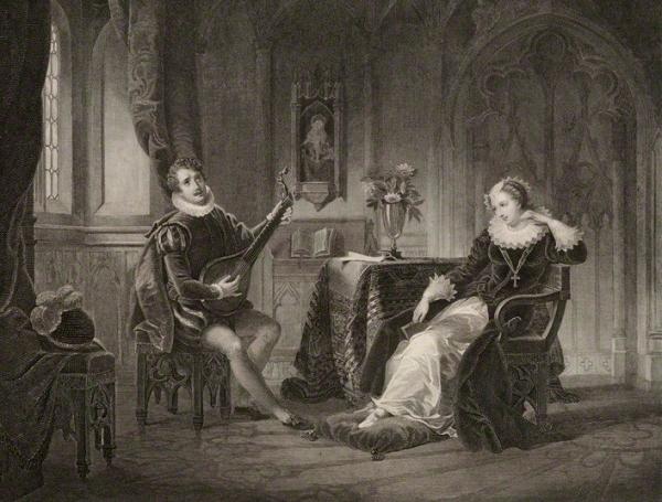 Litografia representando David Rizzio tocando para Mary Stuart, por Andrew Duncan, 1830.