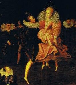 Cena de casal dançando, possivelmente Elizabeth I e Robert Dudley.