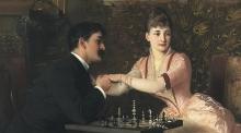 Em vez do papel de dona de casa e apêndice do marido, a protagonista não assume uma posição de sujeito submissa dentro da trama. ('The proposal', tela de Knut Ekwall, c. 1880).
