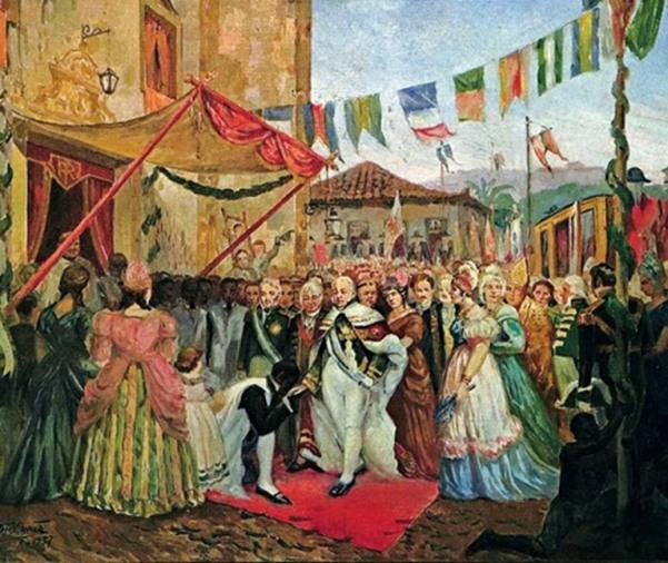 A família real sendo recepcionada no Brasil.