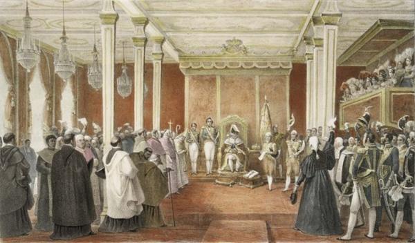 D. João é aclamado rei de Portugal, Brasil e Algarve, por Debret.