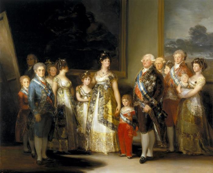 A família de Carlos IV em 1800 por Francisco de Goya. Da esquerda para a direita: o infante Carlos o Príncipe das Astúrias e a Princesa de Astúrias; as infantas Maria Josefa e Maria Isabel, a rainha Maria Luísa de Parma o infante Francisco de Paula, o rei Carlos IV e o infante António Pascoal; as infantas Carlota Joaquina e Maria Luísa, o rei da Etrúria, Luís I e o príncipe herdeiro da Etrúria Carlos.