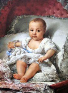 Retrato da Infanta Carlota Joaquina, quando bebê, por Anton Raphael Mengs.