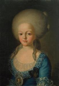 Dona Carlota Joaquina de Bourbon, já como esposa do infante D. João, em 1787, por  Giuseppe Troni.